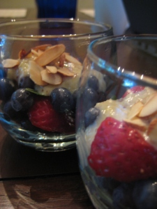 berries in creme anglaise