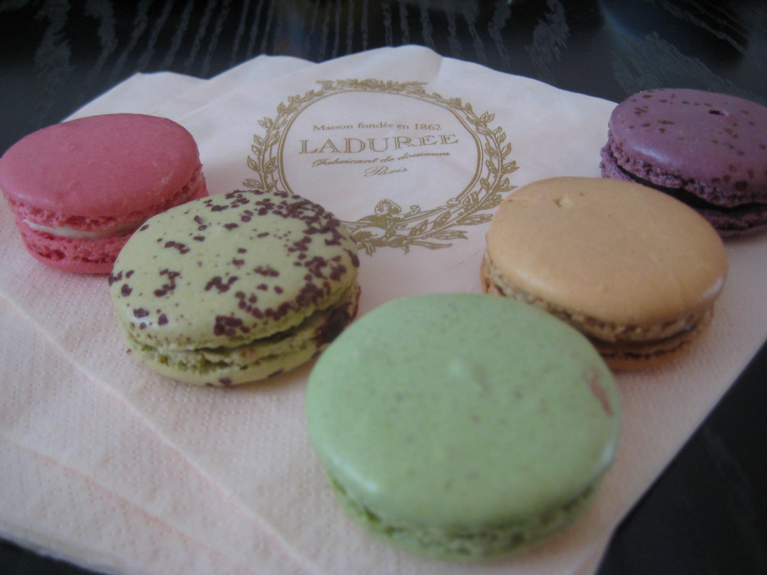 Laduree Macarons, left to right: Rose, Chocolate Mint, Pistachio ...